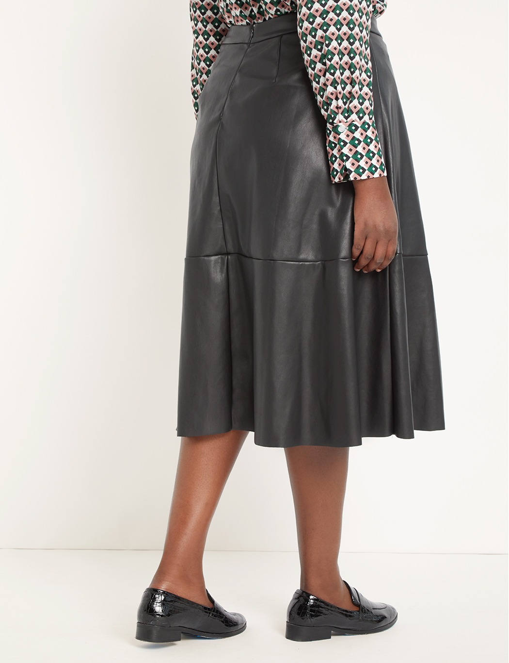 Button Front Faux Leather Midi Skirt