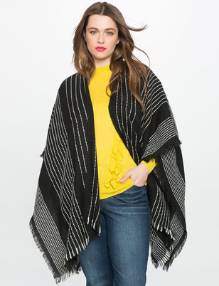 Raw Edge Contrast Poncho