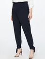 Ruffle Waist Pant With Ankle Tie Black Iris