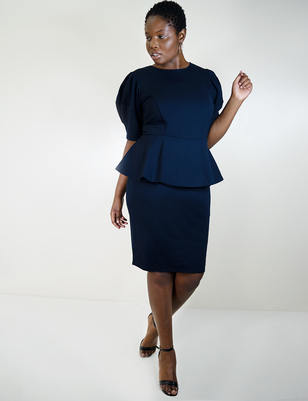 Puff Sleeve Peplum Dress