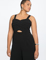 Cross Front Cropped Jumpsuit Totally Black