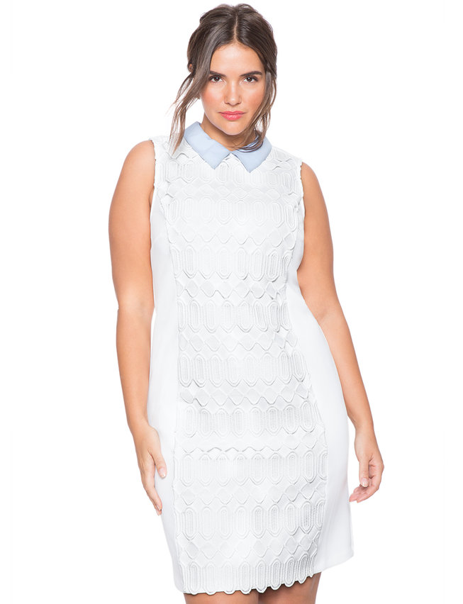 Studio Collared Crochet Dress Womens Plus Size Dresses Eloquii