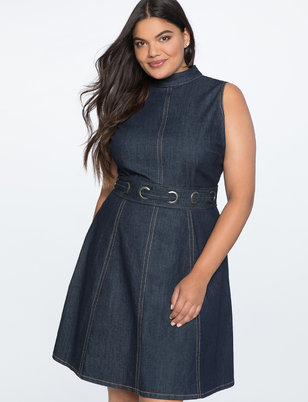 A-Line Denim Dress with Grommet Detail