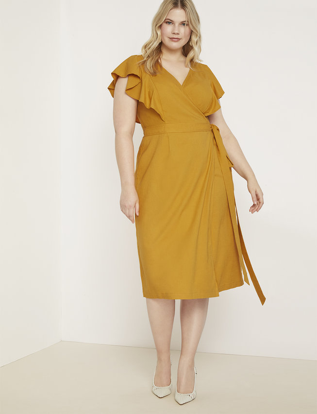 Wrap Dress with Flutter Sleeve