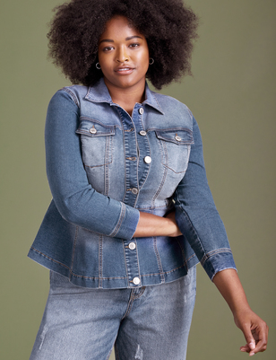 ELOQUII Elements Denim Peplum Jacket