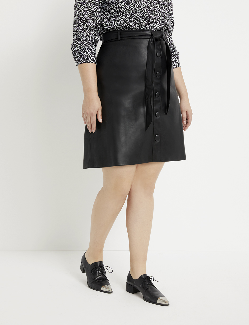 Tie Waist Faux Leather A-Line Mini Skirt