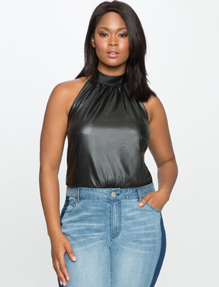 Faux Leather Halter Bodysuit