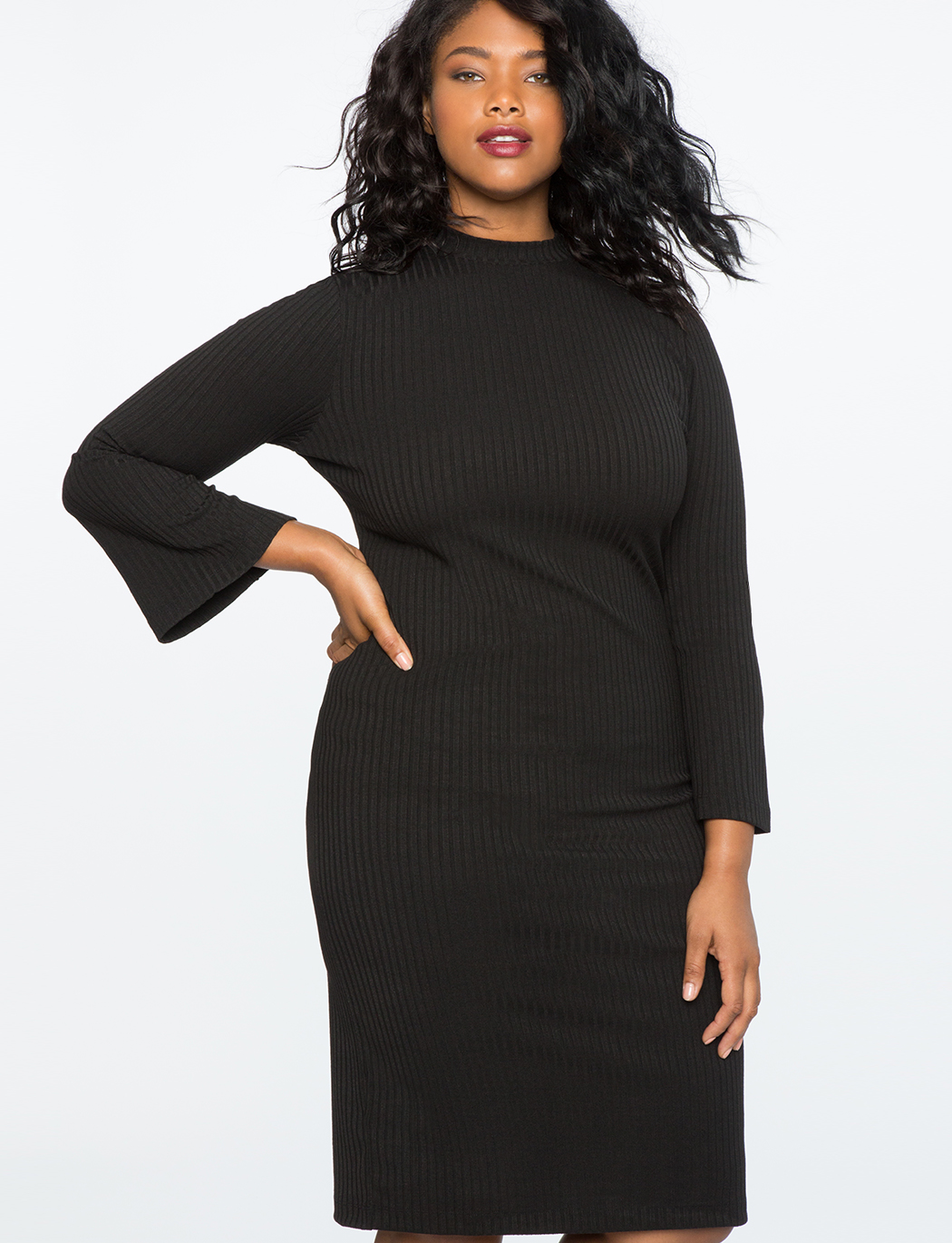 Rib Knit Sweater Dress | Women\'s Plus Size Dresses | ELOQUII