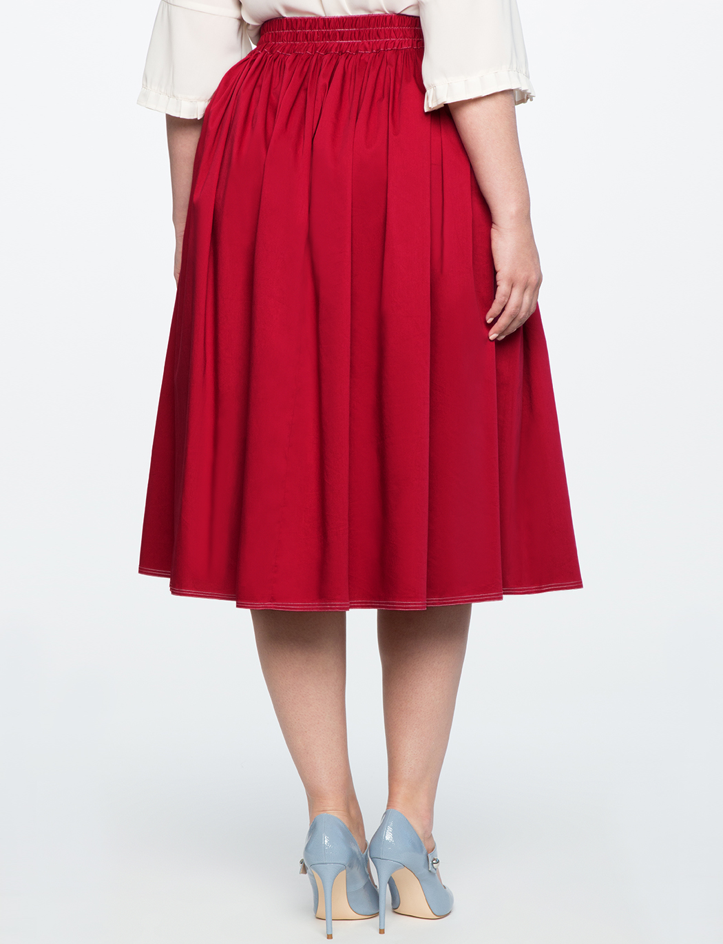 Side Snap Button Midi Skirt