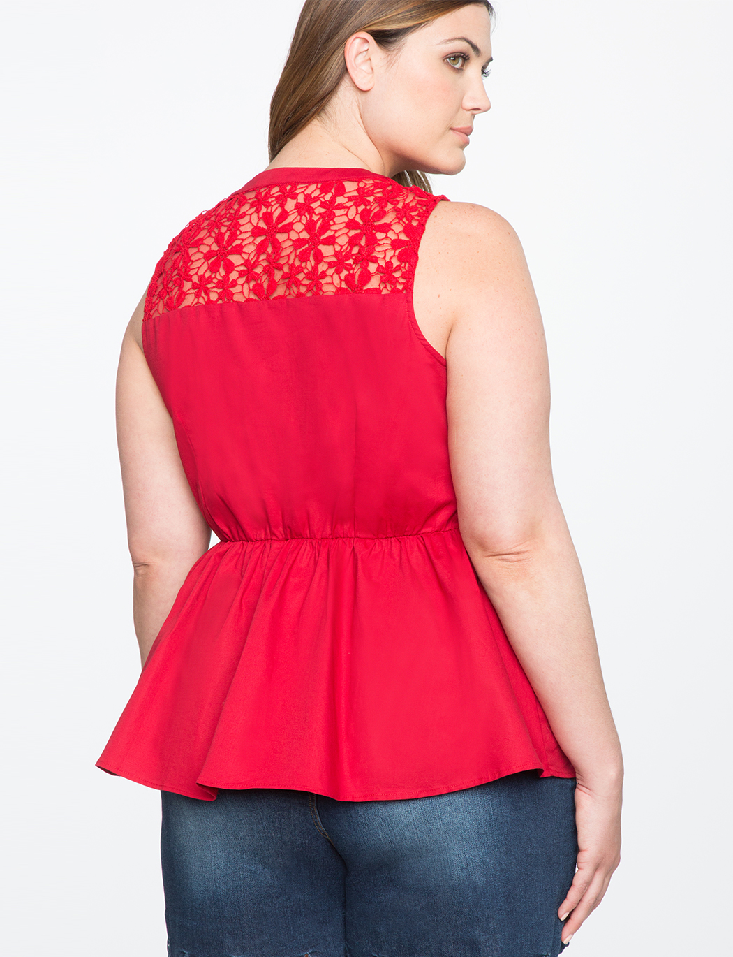 Lace Detail Tie Neck Peplum Top