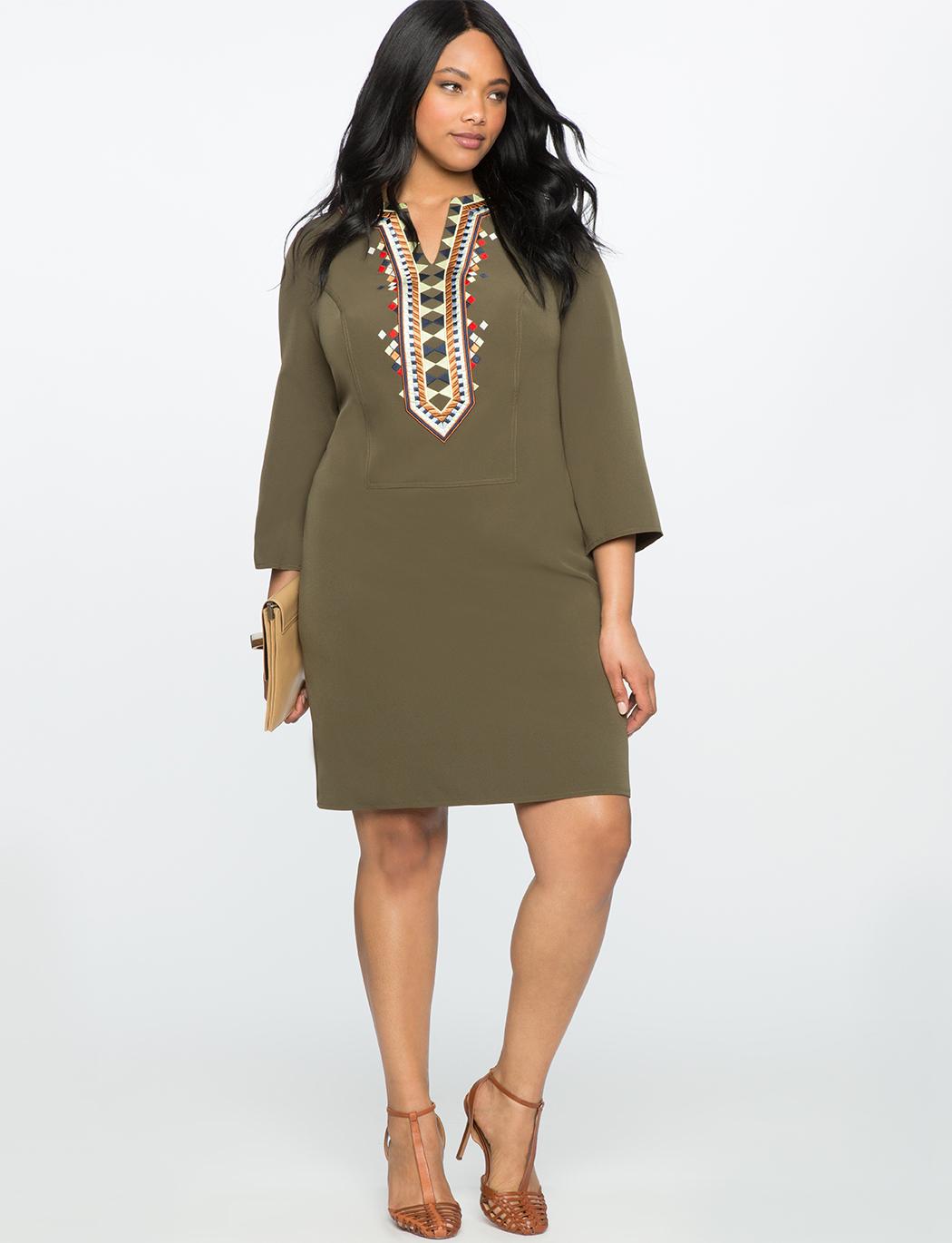 Embroidered Flare Sleeve Dress