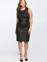 Ponte Faux Leather Mix Dress  Black