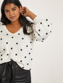 Dot Puff Long Sleeve Sweater Ecru with Black Dots