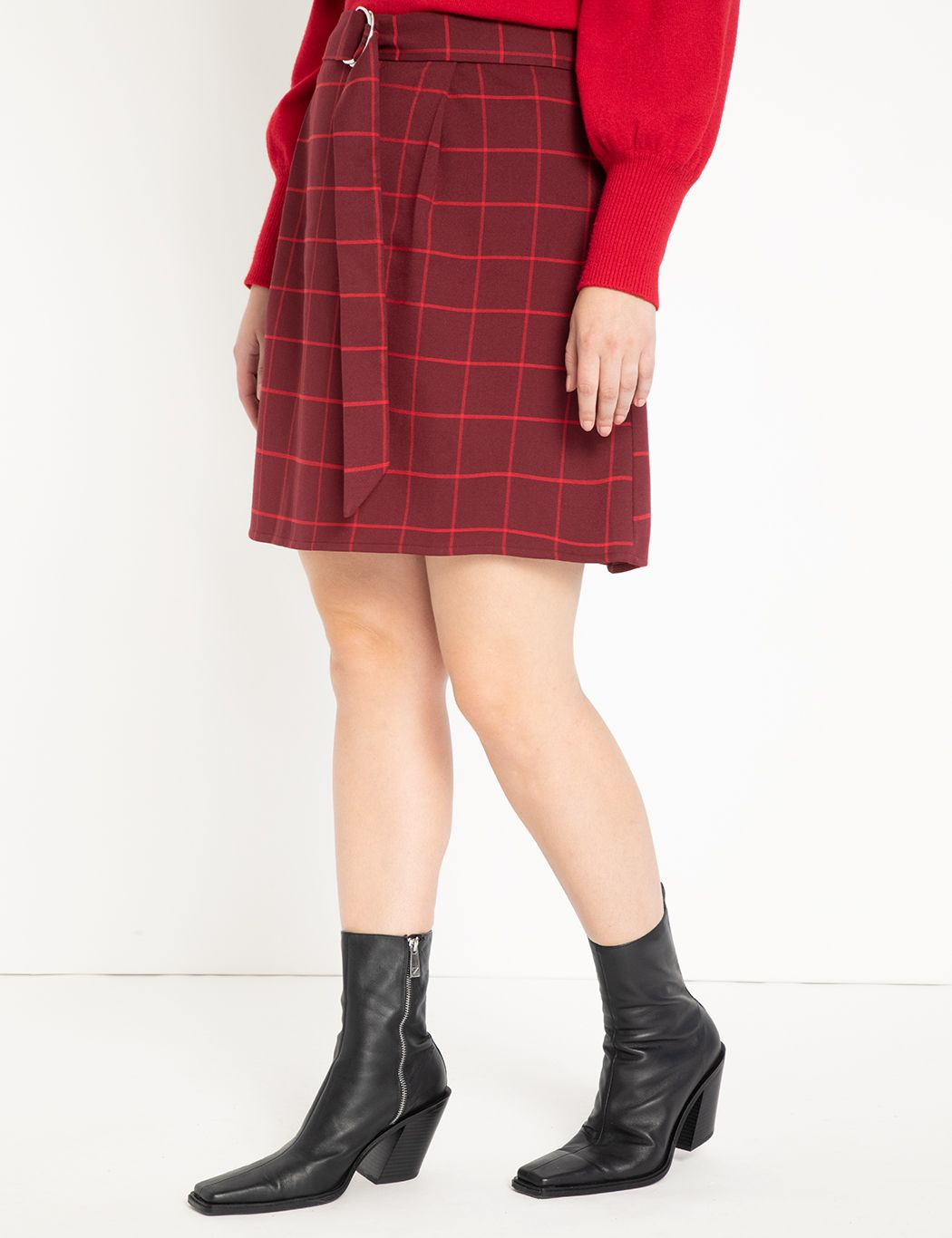 Windowpane Mini Skirt with Belt