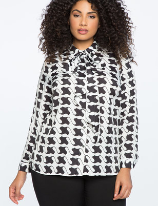 Houndstooth Top with Tie