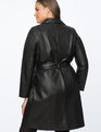 Faux Leather Trench Dress Black