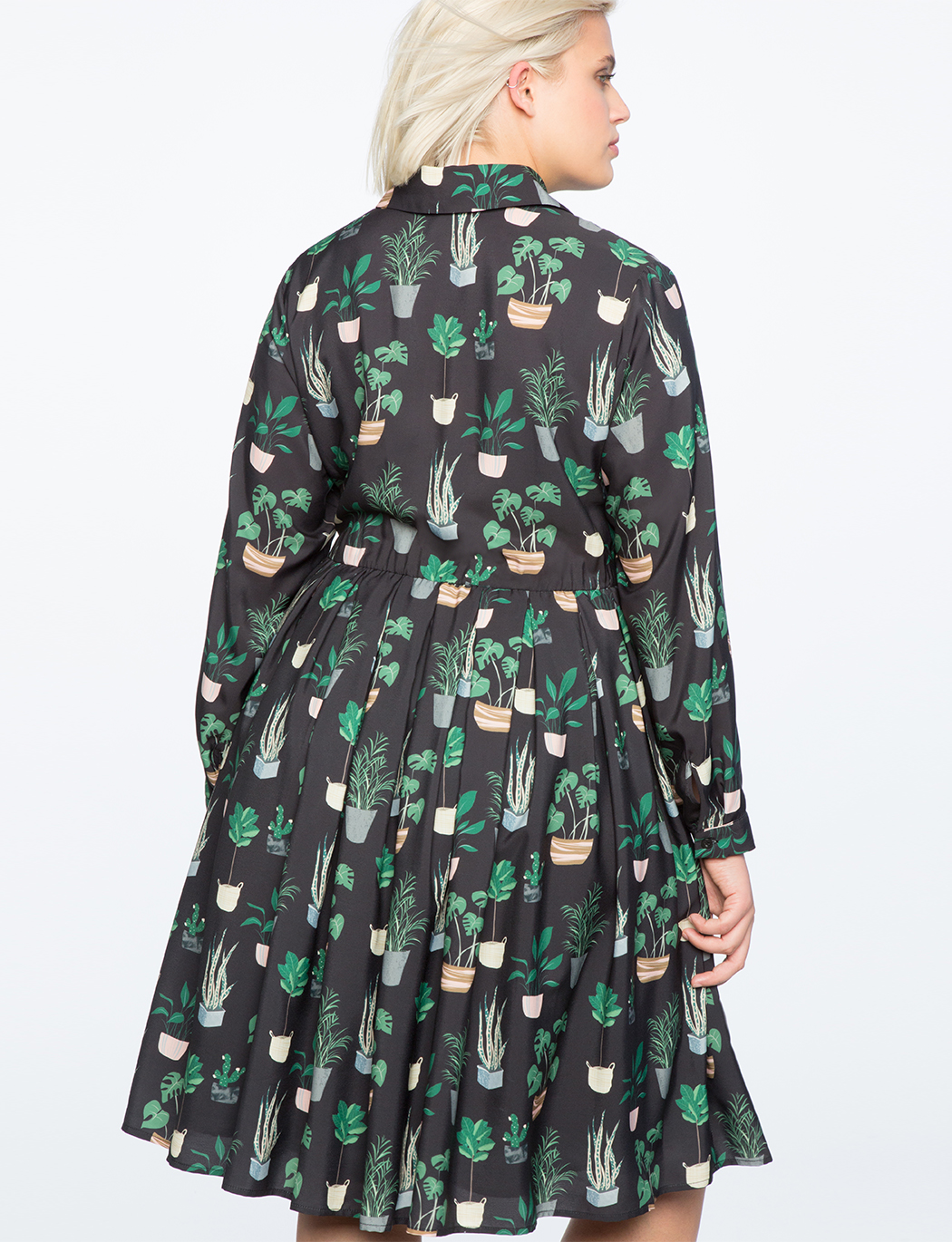 Long Sleeve Printed Fit and Flare Dress