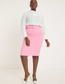 Plaid Column Skirt with Belt Pink + White Windowpane
