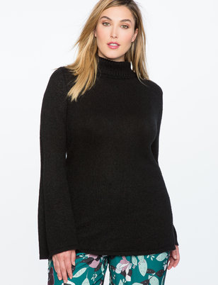 Flare Sleeve Tunic Sweater with Slits