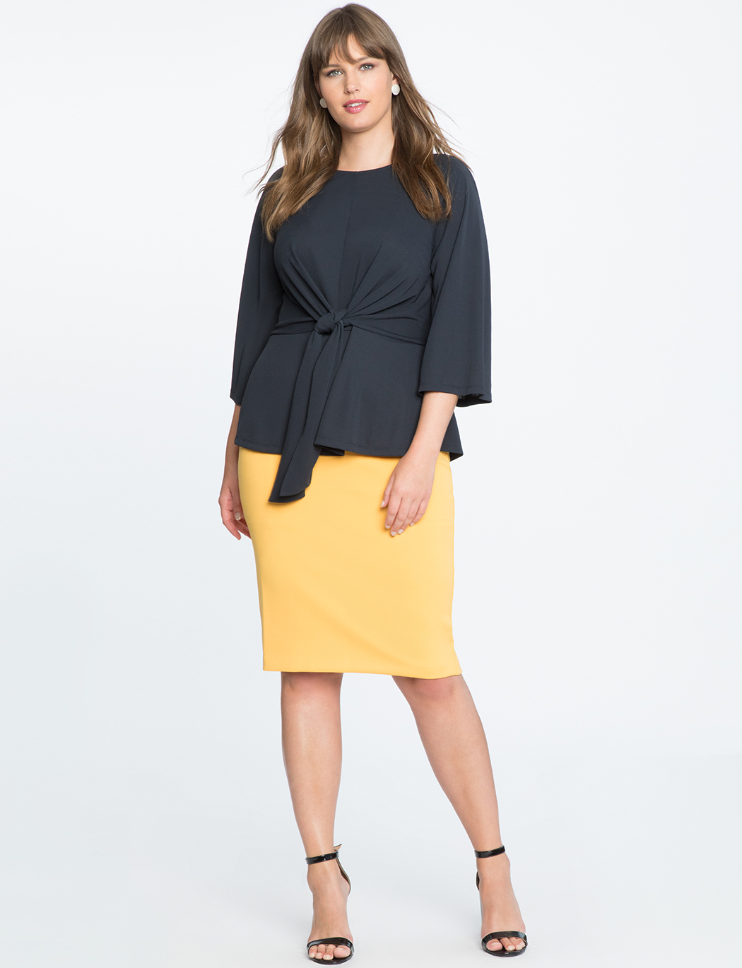 Flared Sleeve Tie Front Top