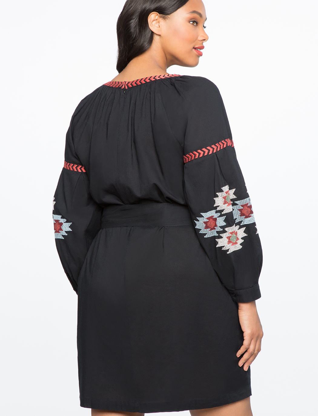 Tie Neck Embroidered Dress