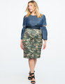 Button Detail Pencil Skirt Camo