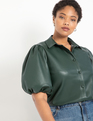 Faux Leather Puff Sleeve Top Pine Grove