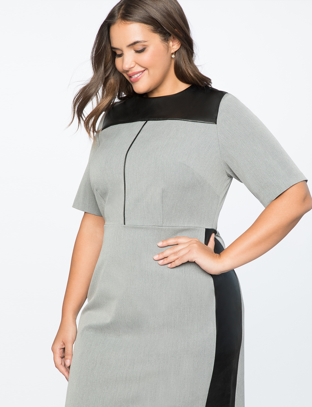 Premier Bi-Stretch Faux Leather Mix Work Dress | Women\'s Plus Size Dresses  | ELOQUII