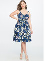 Printed Sweetheart Front Tie Dress COPACABANA Print