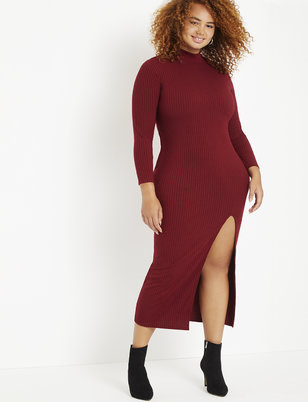 Ribbed Maxi Turtleneck Dress with Slit