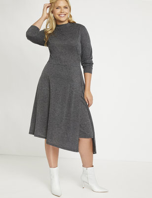 Asymmetrical Turtleneck Dress with Slit