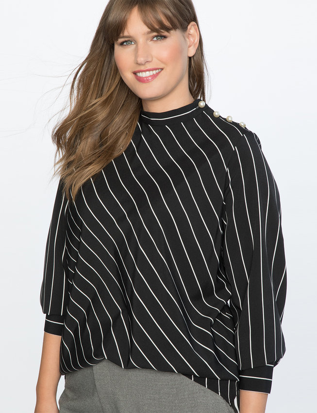 Stripe Top with Pearl Detail