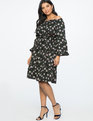 Printed Flare Sleeve Dress Exploded Wolffia Print