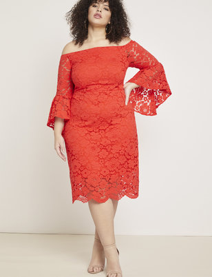 a44a000be2a8 Off the Shoulder Flare Sleeve Lace Dress ...