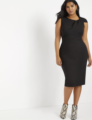 Twisted Shoulder Sheath Dress