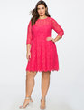 Lace Fit and Flare Dress with 3/4 Sleeves PINK PANSY