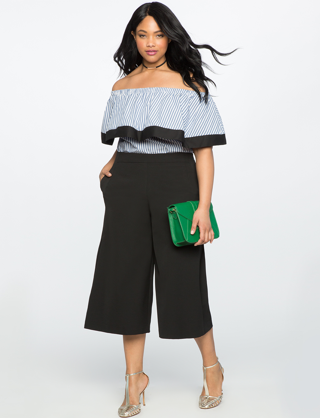 Wide Leg Cropped Side Pleat Pant