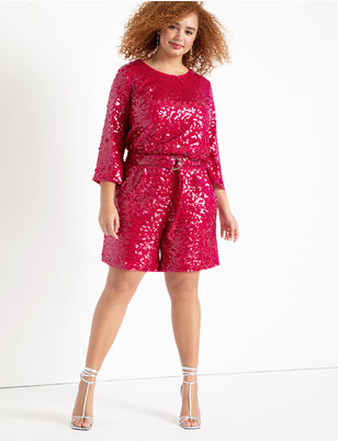 Sequin Bermuda Short with Belt