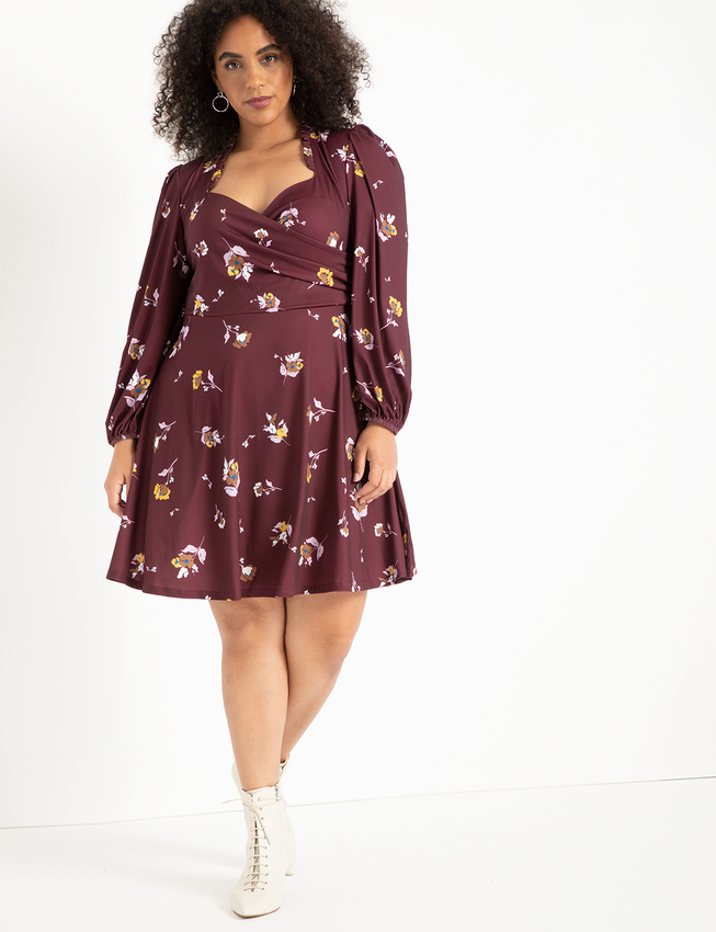 Puff Sleeve Sweetheart Dress