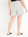 Tie Waist Linen Shorts Neutral Stripe