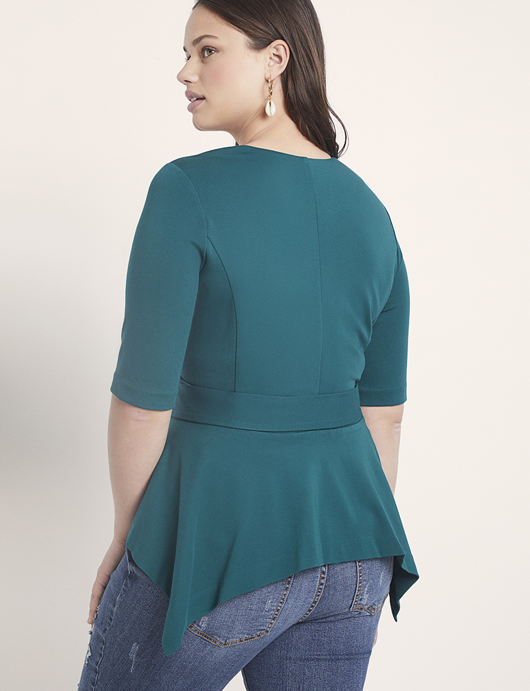 Short Sleeve Peplum Jacket with Belt