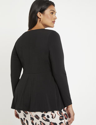 Long Sleeve Twist Front Peplum