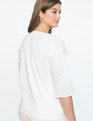 Pleated Sleeve Pearl Detail Top SOFT WHITE