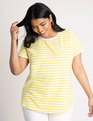 Stripe Crew Neck Tee Golden Kiwi + White Stripe