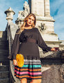 Flounce Sleeve Dress with Embellished Skirt Black + Electric stripes