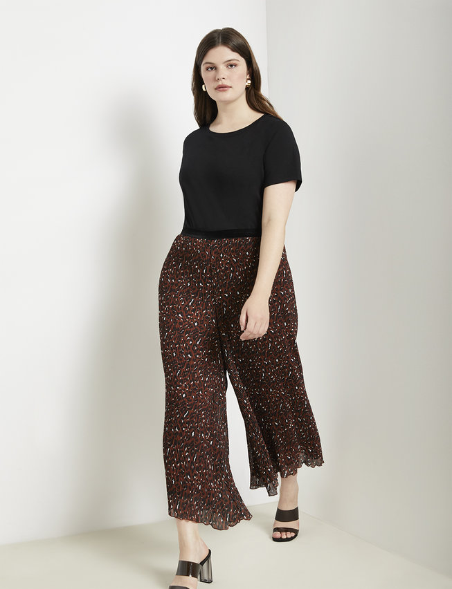 Pleated Leopard Print Pant by Eloquii
