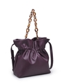 Resin Handle Bucket Bag Burgundy