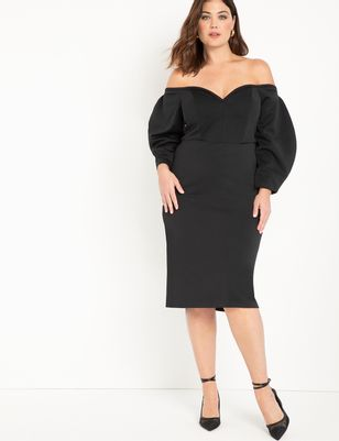 Dramatic Sleeve Strapless Dress