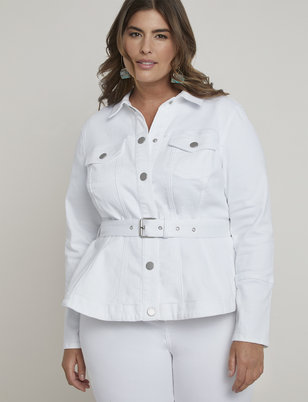 Belted Peplum Denim Jacket