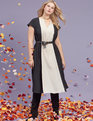 Colorblocked Fit and Flare Dress BLACK + SOFT WHITE